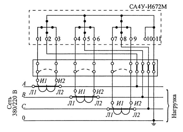 Схема включения трехэлементного счетчика типа СА4У-И672М в четырехпроводную сеть с испытательной коробкой