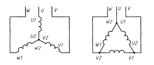Схемы соединения фазных обмоток трехфазного асинхронного двигателя в звезду и в треугольник