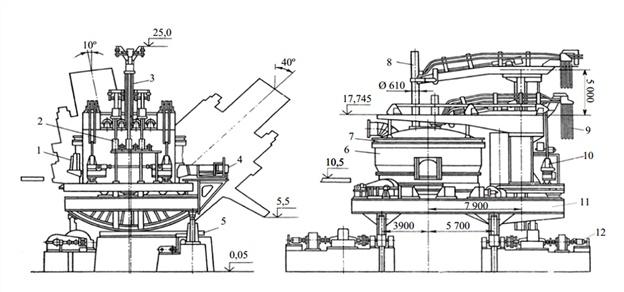 дуговая сталеплавильная печь схема дсп-12