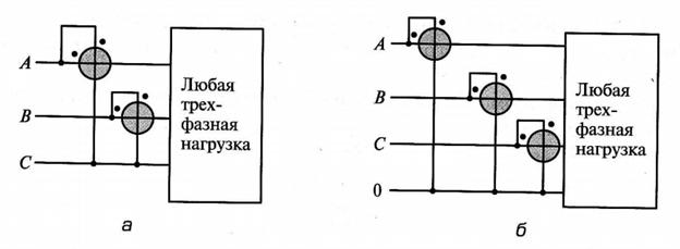 Схемы измерения мощности на переменном токе