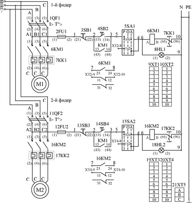 Принципиальная схема первичных соединений ящика управления