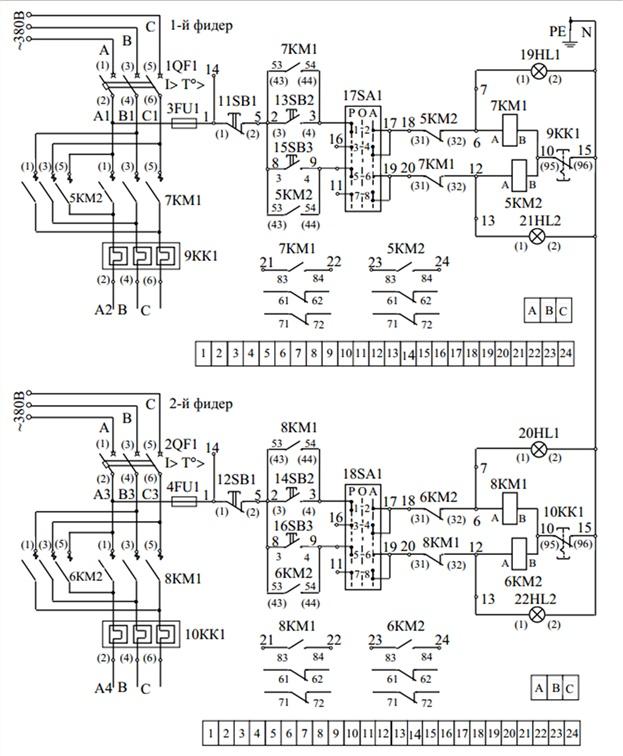 Принципиальная схема первичных соединения ящика управления