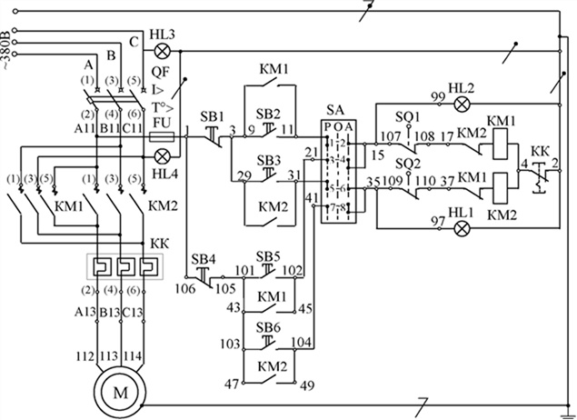 Принципиальная электрическая схема управления канатно-скреперной установкой