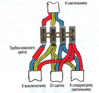 монтажная схема клеммной колодки на четыре клеммы