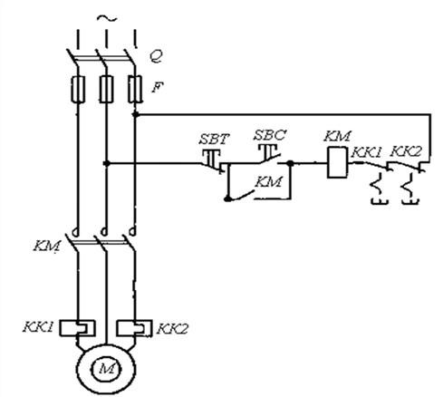 Схема управления асинхронным электродвигателем с короткозамкнутым ротором.