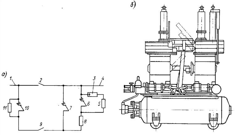 Функциональная электрическая схема полюса (а) и общий вид (б) генераторного воздушного выключателя ВВГ с...